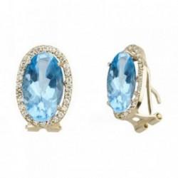 Pendientes oro 18k oval 14mm. centro piedra azul circonitas [AB6913]