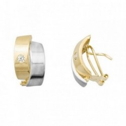 Pendientes oro 18k bicolor bandas lisas circonitas [AB6984]