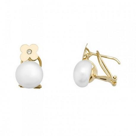 Pendientes oro 18k flor perlas botón 8.5mm.  [AB6987]