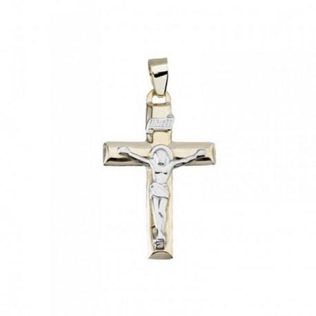 Cruz crucifijo oro 18k plata 925m extremos planos [AB6887]