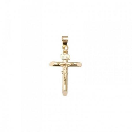 Cruz crucifijo oro 18k extremos chaflán 21mm. [AB6895]