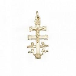 Cruz crucifijo oro 18k Caravaca lisa relieve [AB6897]
