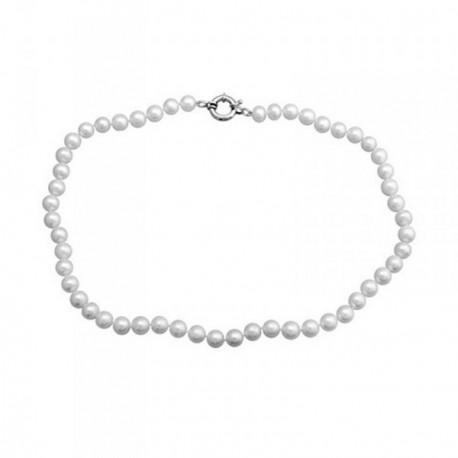 Pulsera plata Ley 925m perlas cultivadas 9mm.  [AB6898]