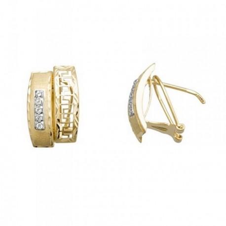 Pendientes oro 18k bicolor banda greca calada circonitas [AB7001]