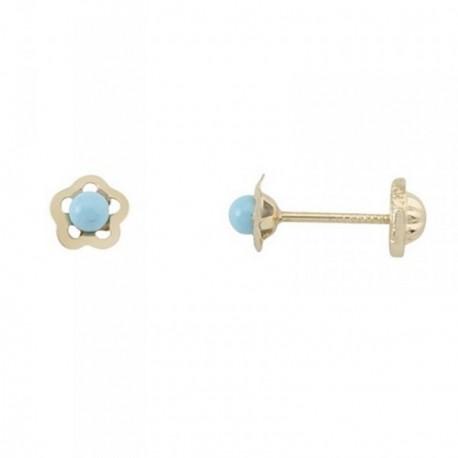 Pendientes oro 18k flor centro piedra color azul [AB6907]
