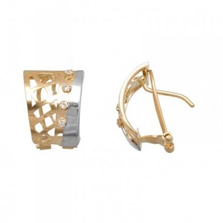 Pendientes oro 18k bicolor bandas caladas circonitas [AB7051]