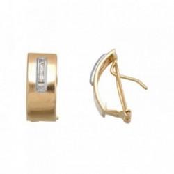 Pendientes oro 18k bicolor anchos circonitas carril [AB7052]