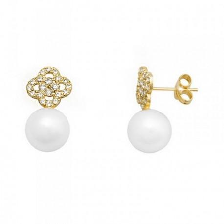 Pendientes oro 18k perlas cultivadas 8mm. flor circonitas [AB6918]
