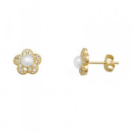 Pendientes oro 18k flor centro perlas cultivadas circonitas [AB6922]