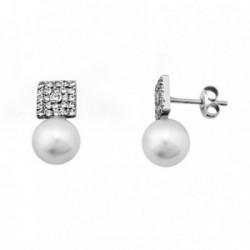 Pendientes oro blanco 18k perlas cultivadas circonitas [AB6928]
