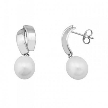 Pendientes oro blanco 18k perlas cultivadas 9.5mm banda lisa [AB6932]