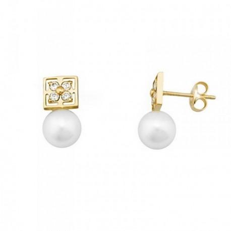 Pendientes oro 18k perlas cultivadas 6.5mm circonitas [AB6935]