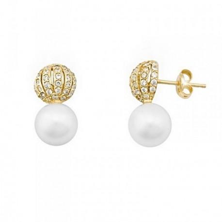 Pendientes oro 18k perlas 7mm. cultivadas media bola [AB6955]