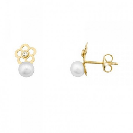 Pendientes oro 18k flor perlas cultivadas 4.5mm. circonitas [AB6967]