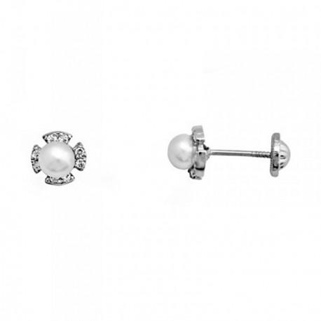 Pendientes oro blanco 18k flor perlas cultivadas circonitas [AB6926]