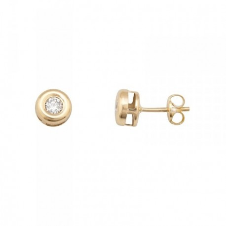 Pendientes oro 18k chatón diamante brillante 0.2ct 3mm. [AB6948]