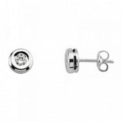 Pendientes oro blanco 18k diamante brillante 0.2ct 3mm. [AB6949]
