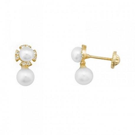 Pendientes oro 18k flor perlas cultivadas 5.5mm. circonitas [AB6942]