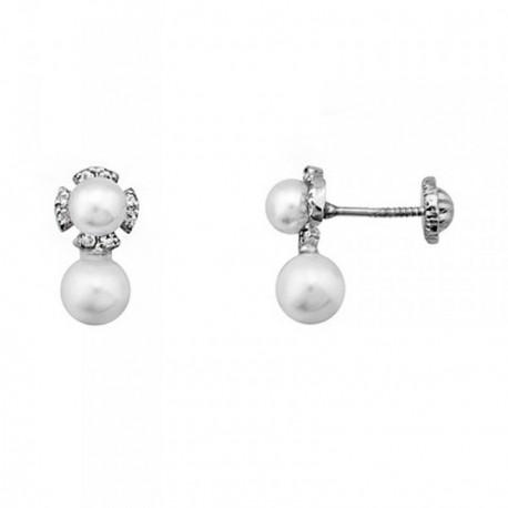 Pendientes oro blanco 18k flor perlas cultivadas 5.5mm. [AB6943]