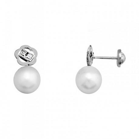 Pendientes oro blanco 18k flor perlas cultivadas 7.5mm. [AB6966]