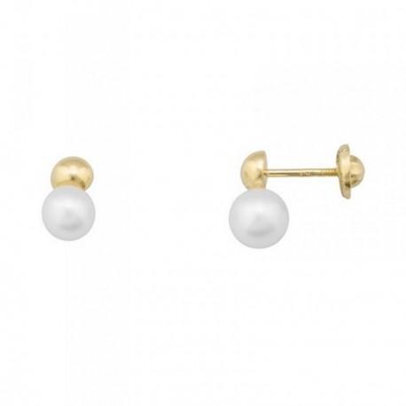 Pendientes oro 18k perlas 5.5mm. cultivadas bola lisa [AB7012]