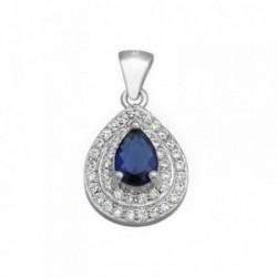 Colgante plata Ley 925m lágrima piedra color azul circonitas [AB6276]