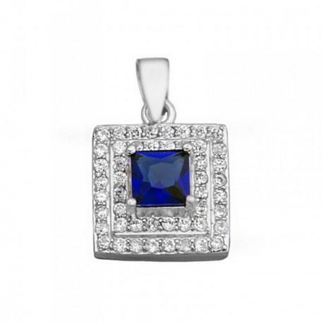 Colgante plata Ley 925m piedra color azul circonitas [AB6279]