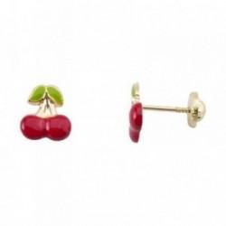 Pendientes oro 18k cerezas esmaltadas rojo verde [AB6963]