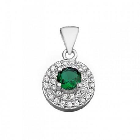 Colgante plata Ley 925m 5mm. piedra color verde circonitas [AB6280]