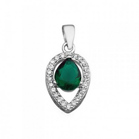 Colgante plata Ley 925m lágrima 9mm. piedra color verde [AB6283]