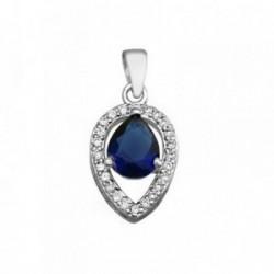 Colgante plata Ley 925m lágrima 9mm. piedra color azul [AB6285]