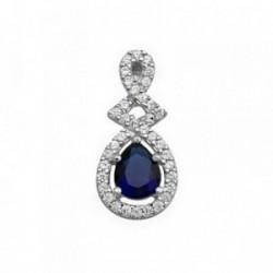 Colgante plata Ley 925m lágrima piedra color azul circonita [AB6288]