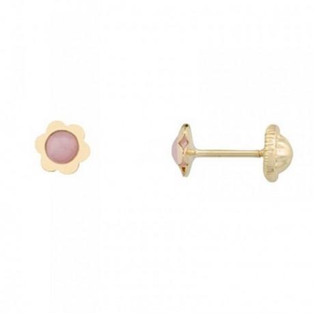 Pendientes oro 18k flor centro piedra rosa 3mm. [AB6973]