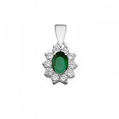 Colgante plata 925m oval 7mm. piedra color verde circonitas [AB6293]