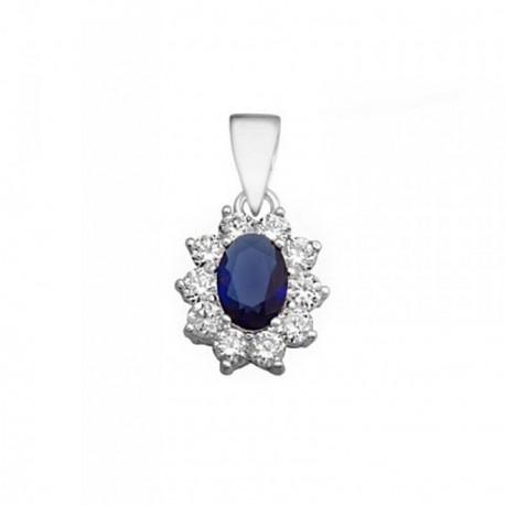 Colgante plata 925m oval 7mm. piedra color azul circonitas [AB6295]