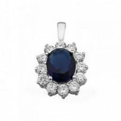 Colgante plata Ley 925m oval 10mm. piedra color azul [AB6302]
