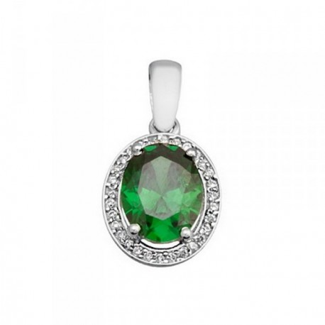 Colgante plata Ley 925m oval 9mm. piedra color verde [AB6306]