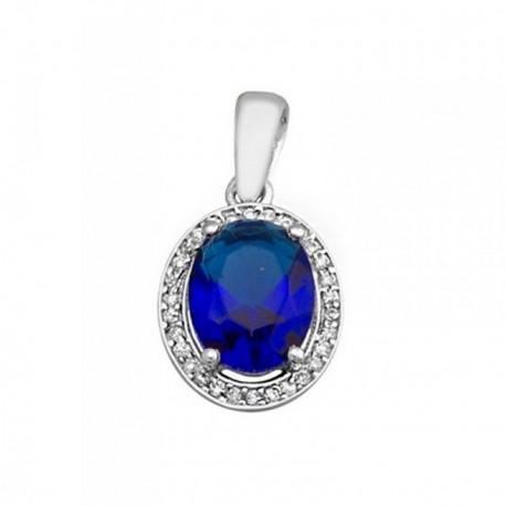 Colgante plata Ley 925m oval 9mm. piedra color azul [AB6307]
