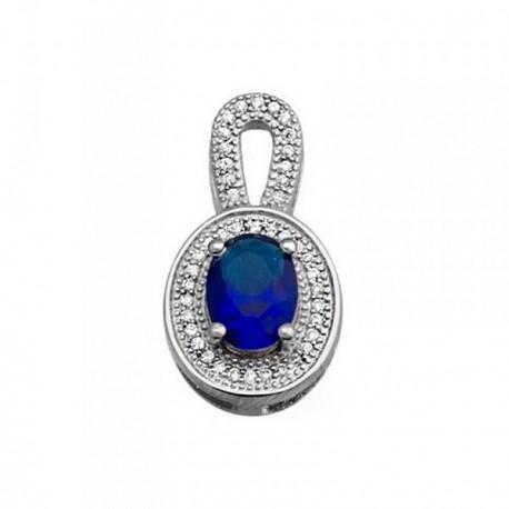 Colgante plata Ley 925m oval 8mm. piedra color azul [AB6313]