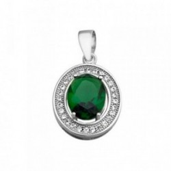 Colgante plata Ley 925m oval 10mm. piedra color verde [AB6319]