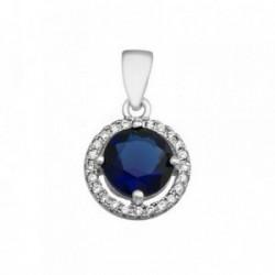 Colgante plata Ley 925m 7mm. piedra color azul circonitas [AB6328]