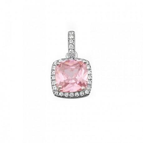Colgante plata Ley 925m 7mm piedra color rosa circonitas [AB6353]