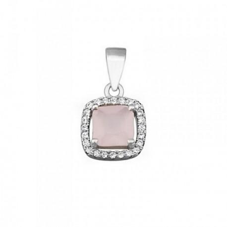 Colgante plata Ley 925m 5mm piedra color rosa circonitas [AB6357]