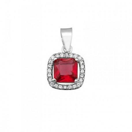 Colgante plata Ley 925m 5mm piedra color rojo circonitas [AB6358]