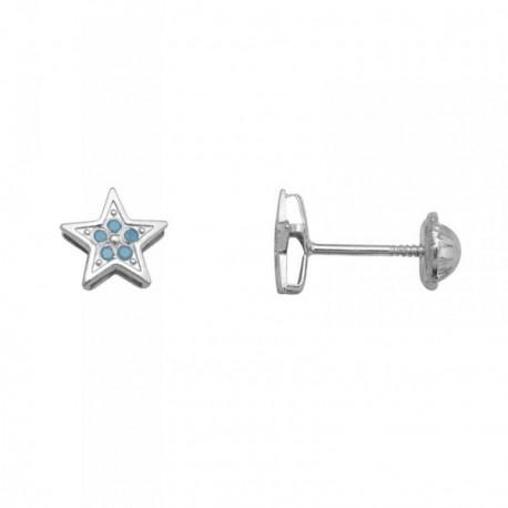 Pendientes oro blanco 18k estrella piedras color azul [AB7032]