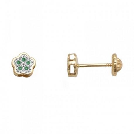 Pendientes oro 18k flor centro piedras color verde [AB7033]