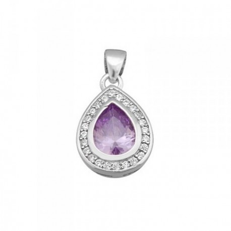 Colgante plata Ley 925m lágrima 15mm piedra color púrpura [AB6380]