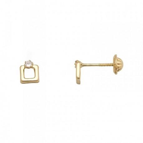 Pendientes oro 18k calados circonita 1mm. [AB7043]