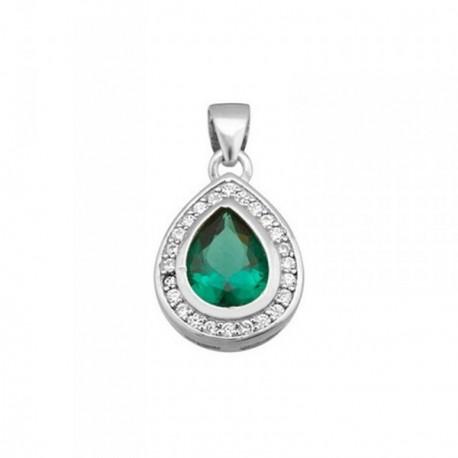 Colgante plata Ley 925m lágrima 15mm piedra color verde [AB6381]