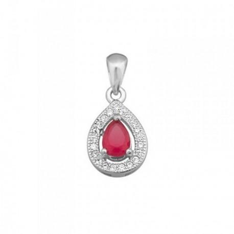 Colgante plata Ley 925m lágrima 13mm piedra color rojo [AB6387]